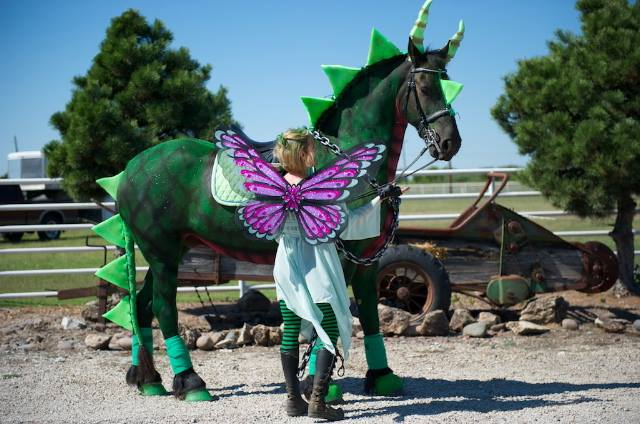 Dragon Horse Halloween Costume - For those riders who are looking for something especially impressive, this Dragon Horse and Fairy Rider costume set should do the trick.  This horse and rider Halloween costume idea will make everyone in the audience sit up and take notice… and maybe a few steps back! (And it's my 2nd favorite on the list!)